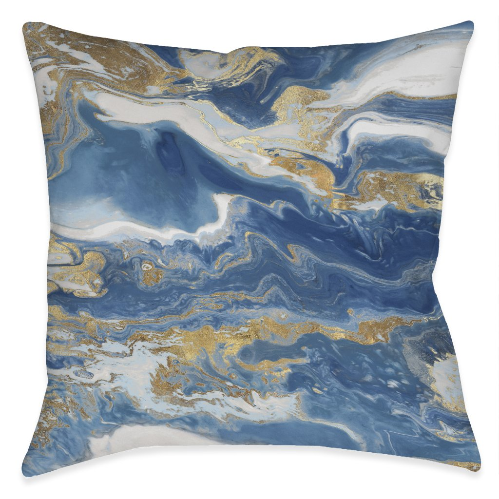 Blue and Gold Serenity Outdoor Decorative Pillow
