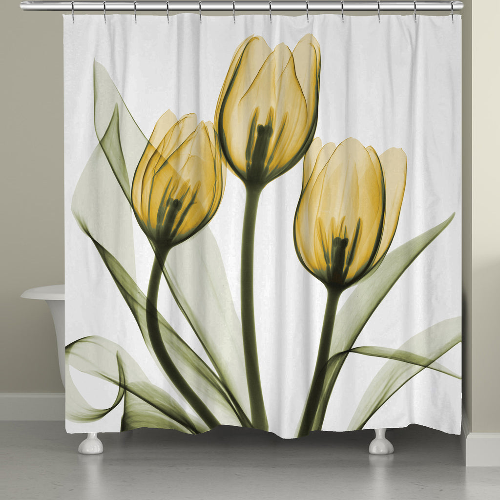 Golden X Ray Tulips Shower Curtain