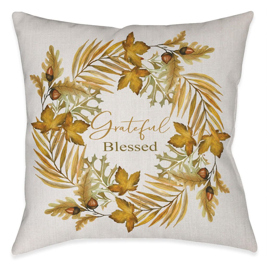 Grateful Blessed Outdoor Decorative Pillow