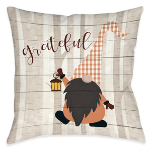Grateful Gnome Outdoor Decorative Pillow