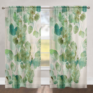 Green Watercolor Eucalyptus Leaves Sheer Window Panel