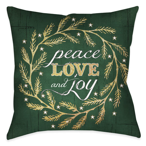 Peace Love Joy Green Indoor Decorative Pillow