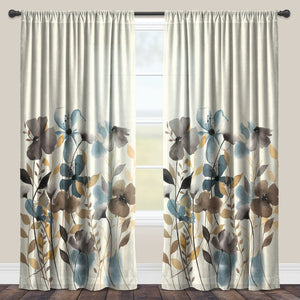 Greige Florals Sheer Window Panel