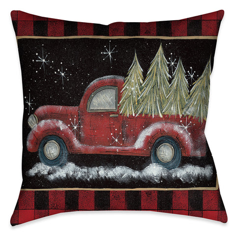 Plaid Holiday Pickup Indoor Decorative Pillow