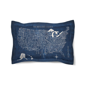 Hand Lettered US Map Blueprint Duvet Sham