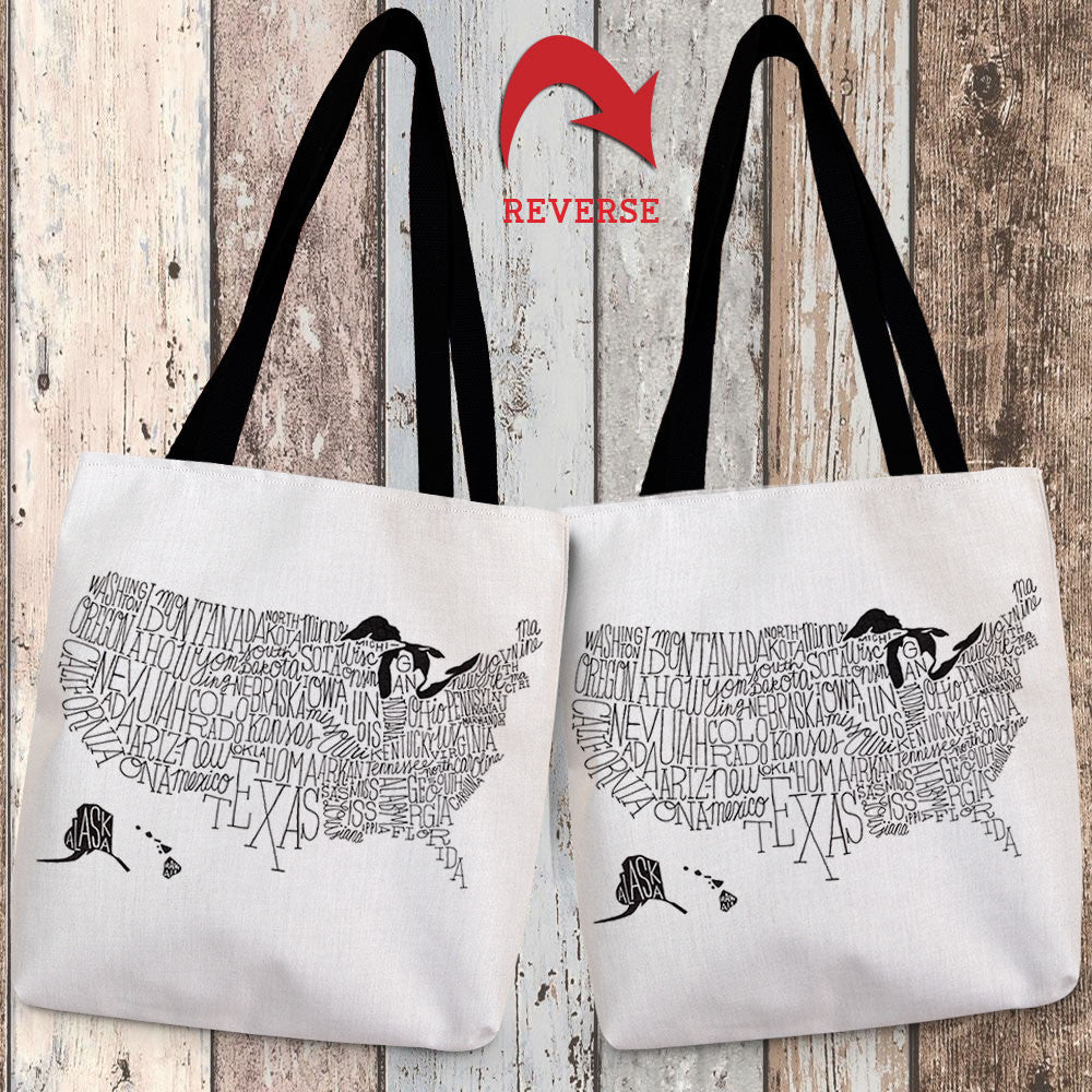 Hand Lettered US Map Black & White Canvas Tote Bag