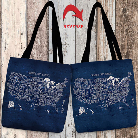 Hand Lettered US Map Blueprint Canvas Tote Bag