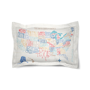 Hand Lettered US Map Color Duvet Sham