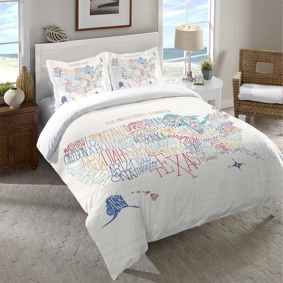 Hand Lettered US Map Color Duvet Cover  Laural Home - Us map color