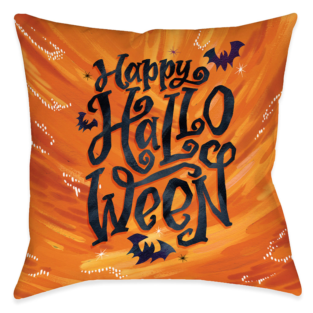 Happy Bat Halloween Outdoor Decorative Pillow