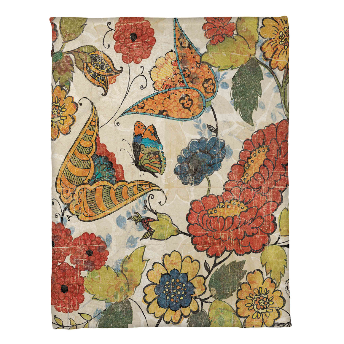 "The ""Heirloom Floral Fleece Throw"" exposes a delightful display of digitally printed, original hand painted artwork of fun floral and butterfly motifs. The artistic feel of this fleece throw looks great on display and is sure to transform your living space into a work of art!"