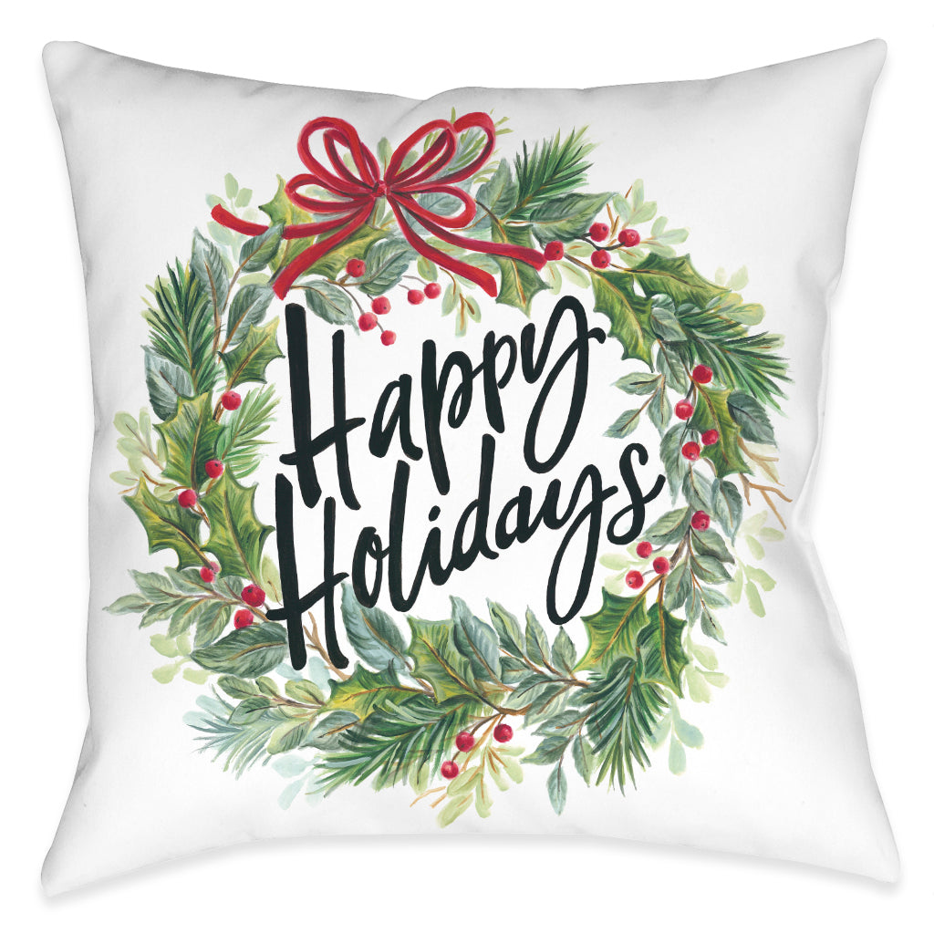 Holiday Wreath Indoor Decorative Pillow