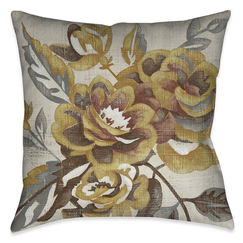 Honeyed Blooms I Outdoor Decorative Pillow