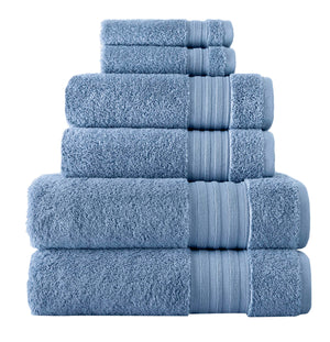 Dusk Blue Turkish Spa Collection 6-pc Cotton Towel Set