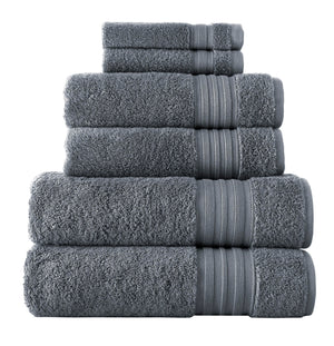 Charcoal Grey Turkish Spa Collection 6-pc Cotton Towel Set