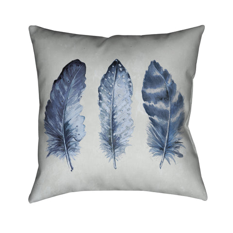 Indigo Feathers I Indoor Decorative Pillow