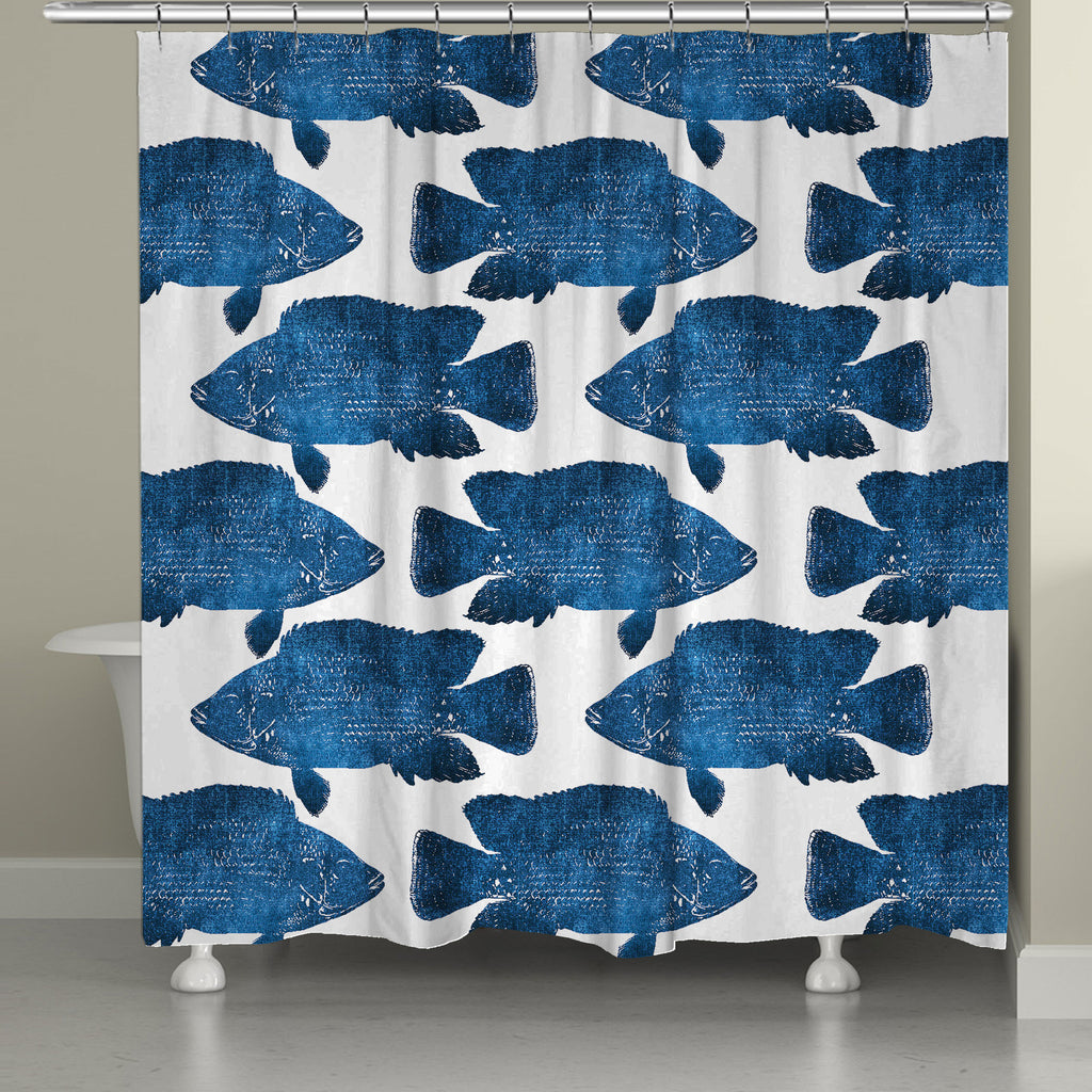Beautiful Indigo Fish Shower Curtain
