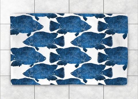 Indigo Fish Accent Rug
