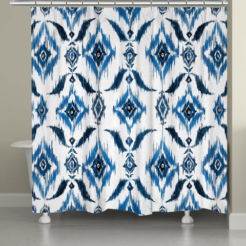 Indigo Ikat Shower Curtain
