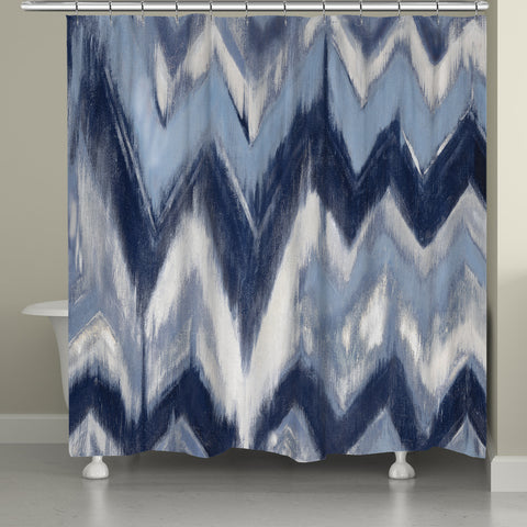 Indigo Chevron Shower Curtain