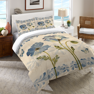 Indigo Watercolor Poppies Duvet Cover