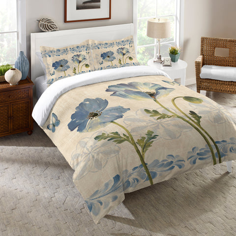 Indigo Watercolor Poppies Comforter
