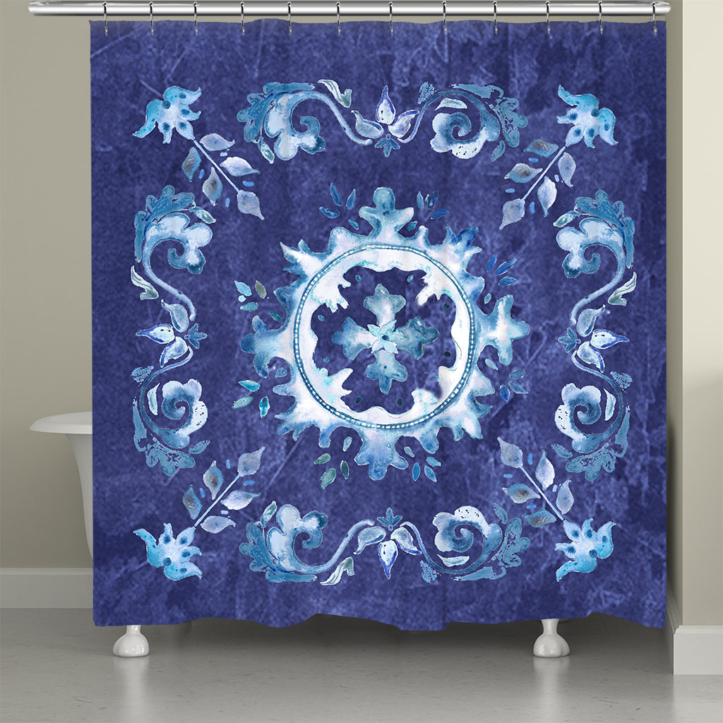 Indigo Tile Shower Curtain