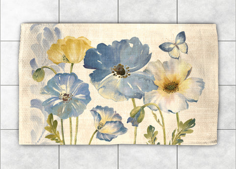 Indigo Watercolor Poppies Accent Rug