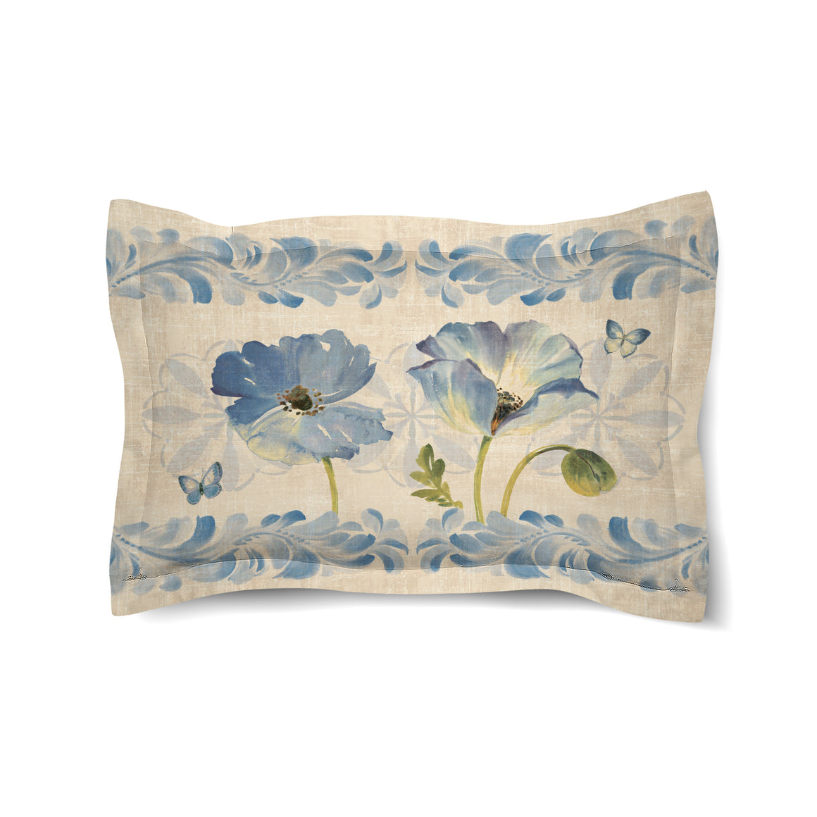 Indigo Watercolor Poppies Duvet Sham