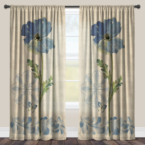 Indigo Watercolor Poppies Sheer Window Panel