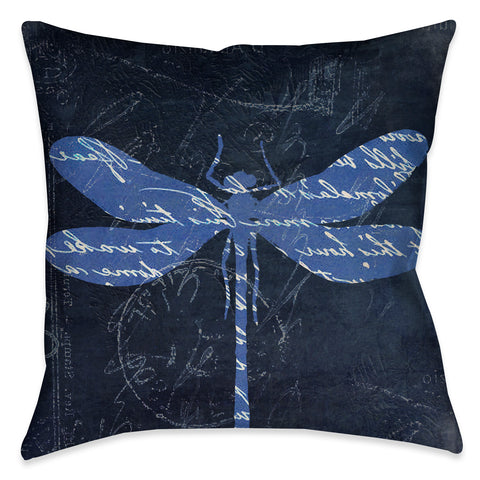 Indigo Dragonfly I Outdoor Decorative Pillow