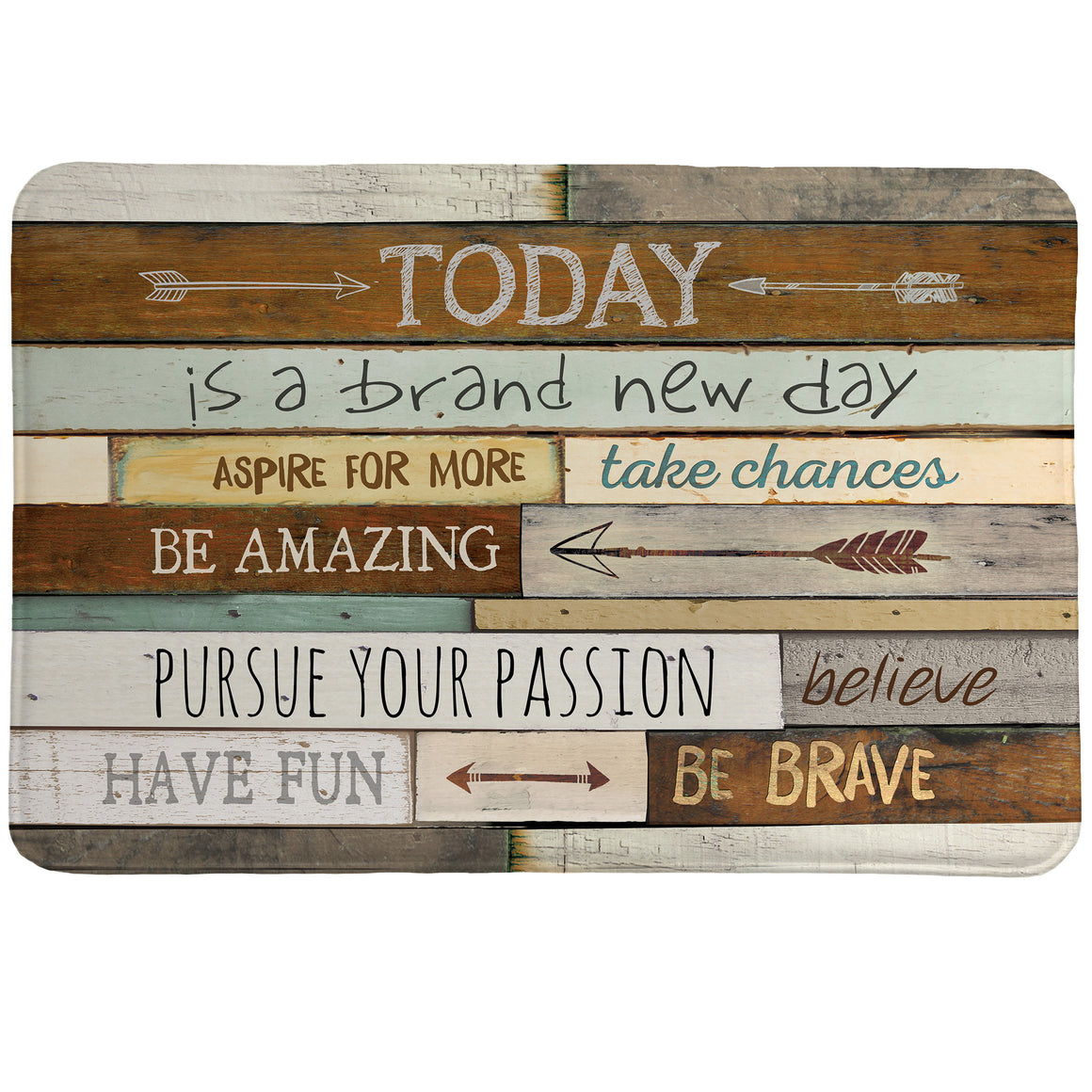Inspiring Mantra Memory Foam Rug features positive sayings with a salvaged wood backdrop accompanied by various arrows.