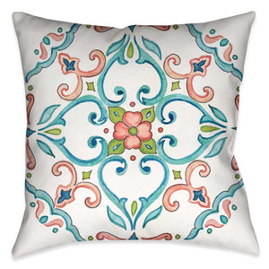 "Laural Home's ""Jewel Medallion I Indoor Decorative Pillow"" displays a watercolor like design of a mosaic motif. The pink, turquoise and green color palate accentuate the motif off the white ground. The ""Jewel Medallion"" pillow collection is sure to make a beautiful display in any living space"