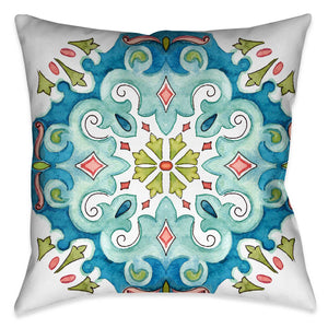 "Laural Home's ""Jewel Medallion II Indoor Decorative Pillow"" displays a watercolor like design of a mosaic motif. The pink, turquoise and green color palate accentuate the motif off the white ground. The ""Jewel Medallion"" pillow collection is sure to make a beautiful display in any living space"