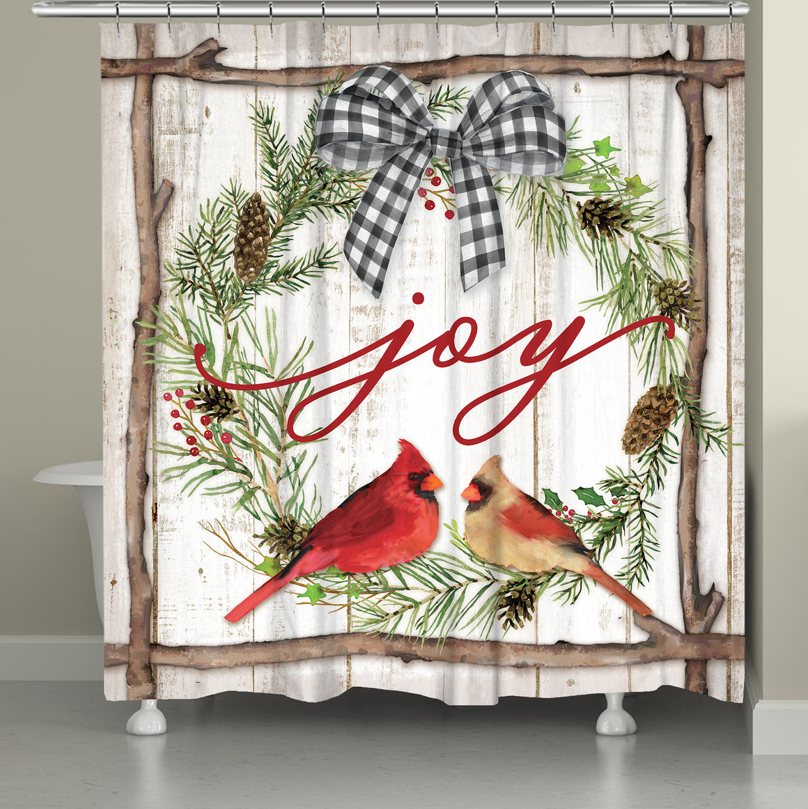 Joyful Cardinal Shower Curtain