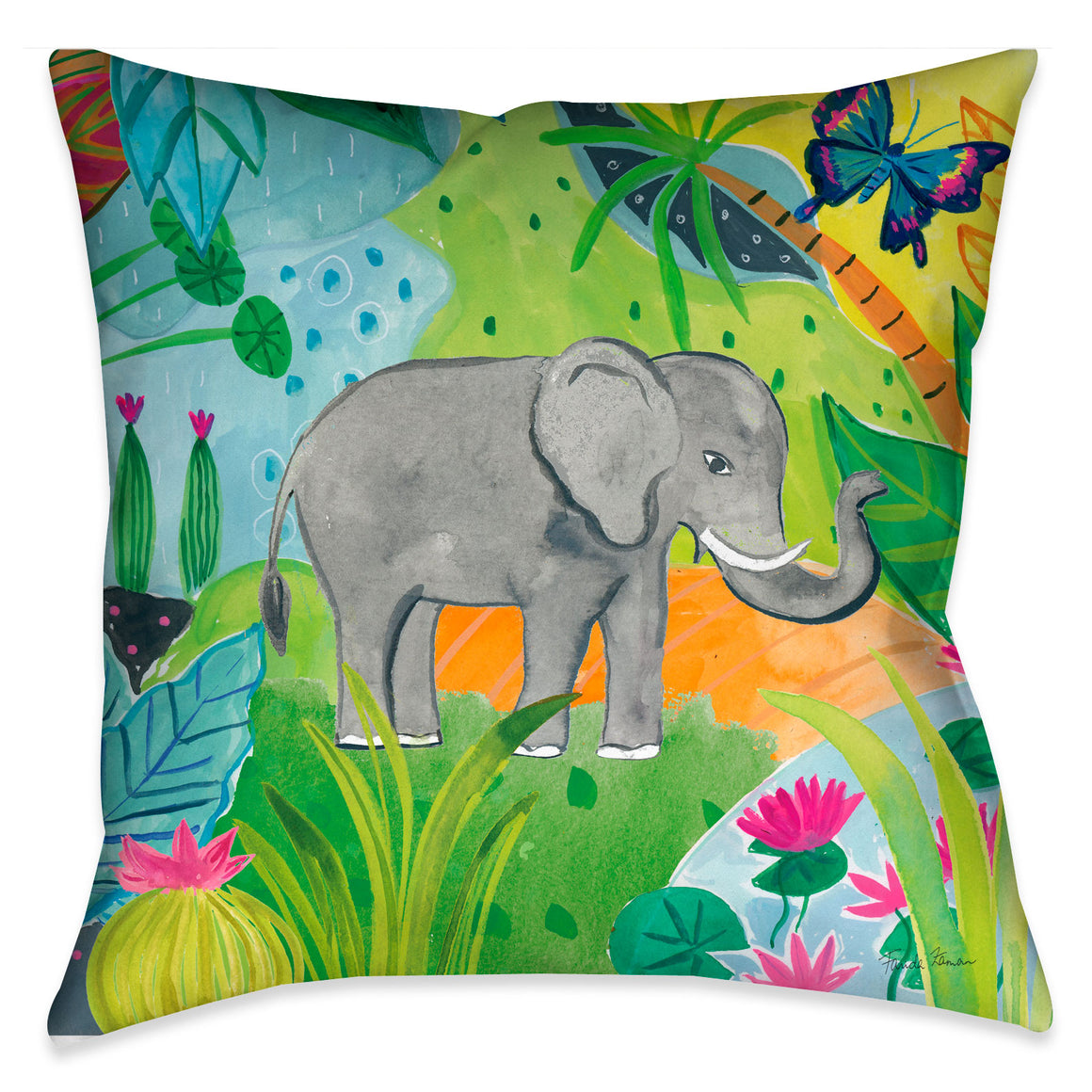 Colorful, whimsical and bright, this fun jungle elephant decorative pillow made in the USA will surely brighten your home decor