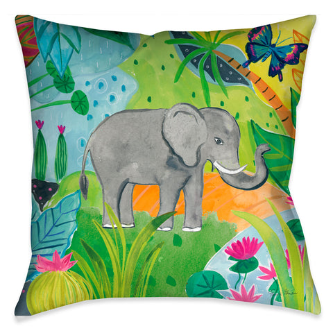 Jungle Elephant Outdoor Decorative Pillow