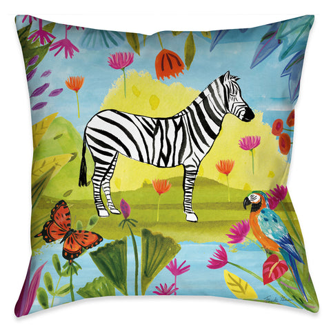 Jungle Zebra Outdoor Decorative Pillow