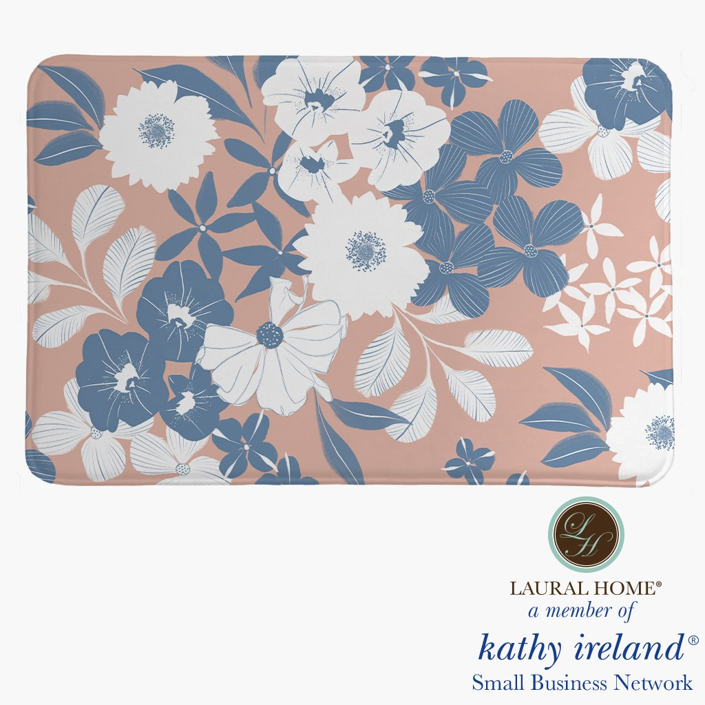 Laural Home kathy ireland® Small Business Network Member Delicate Floral Bursts Memory Foam Rug