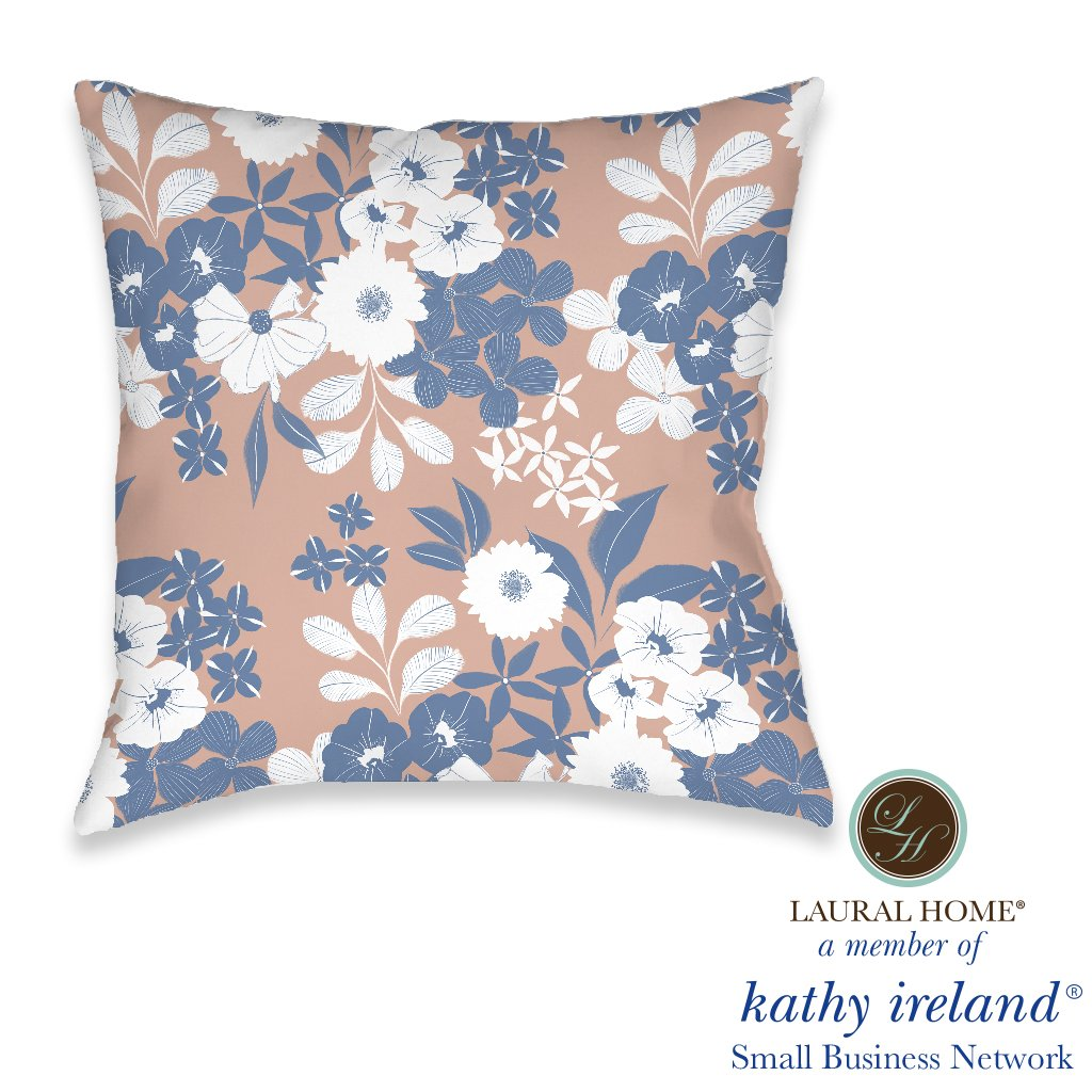 Laural Home kathy ireland® Small Business Network Member Delicate Floral Burst Outdoor Decorative Pillow