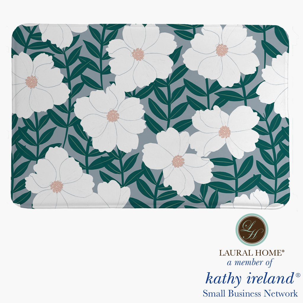 Laural Home kathy ireland® Small Business Network Member Delicate Floral Magnolia Memory Foam Rug