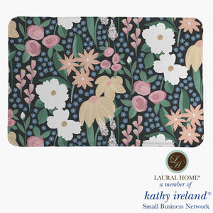 Laural Home kathy ireland® Small Business Network Member Delicate Floral Midnight Garden Memory Foam Rug