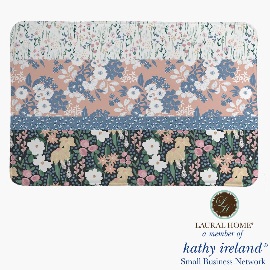 Laural Home kathy ireland® Small Business Network Member Delicate Floral Stripe Memory Foam Rug