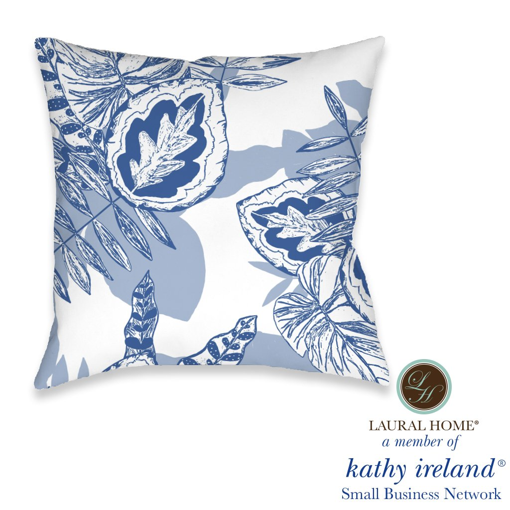 Laural Home kathy ireland® Small Business Network Member Palm Court Azul Outdoor Decorative Pillow