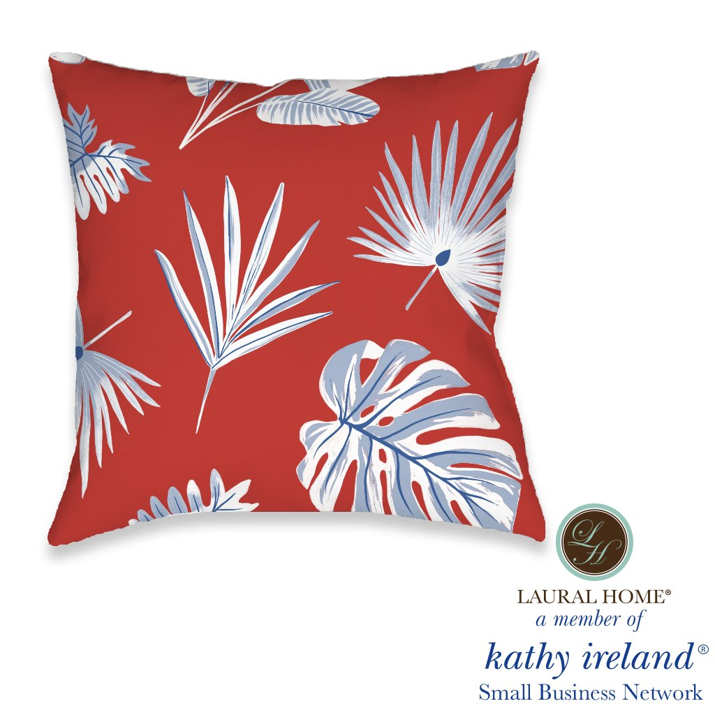 Laural Home kathy ireland® Small Business Network Member Palm Fan Outdoor Decorative Pillow