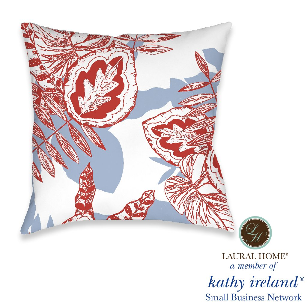 Laural Home kathy ireland® Small Business Network Member Palm Scarlett Outdoor Decorative Pillow