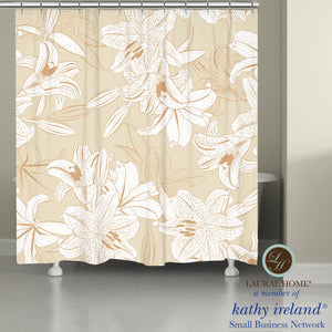 Laural Home kathy ireland® Small Business Network Member Peaceful Elegance Lily Shower Curtain