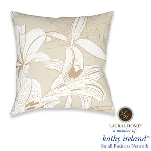 Laural Home kathy ireland® Small Business Network Member Peaceful Elegance Lily Outdoor Decorative Pillow