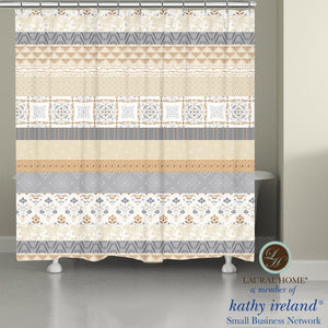 Laural Home kathy ireland® Small Business Network Member Peaceful Elegance Stripe Shower Curtain