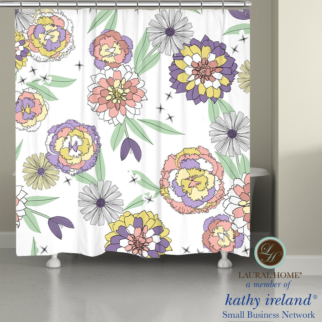 Laural Home kathy ireland® Small Business Network Member Retro Floral Bloom Shower Curtain
